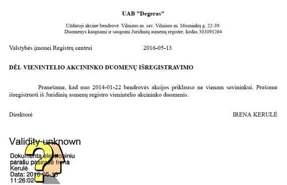 """15min nuotr./Irenos Kerulės pateiktas pranešimas, liudijantis melagingą informaciją apie """"Degero"""" akcininkus"""