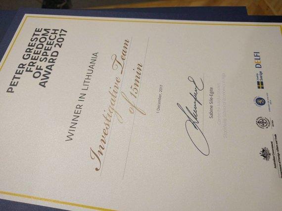 15min nuotr./Peterio Greste vardo apdovanojimas už nuopelnus žodžio laisvei