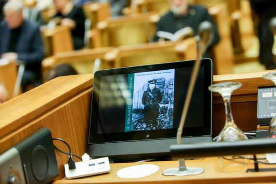 Vidmanto Balkūno / 15min nuotr./Seime, Kovo 11 salėje vyksta Antano Kraujelio – Siaubūno 90-mečio minėjimas