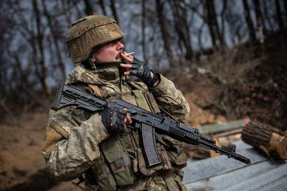 Vidmanto Balkūno / 15min nuotr./Priešakinės Ukrainos kariuomenės pozicijos šalia Pavlopilio