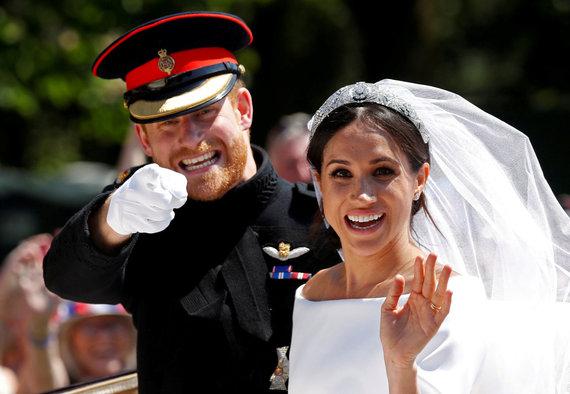 """""""Reuters""""/""""Scanpix"""" nuotr./Didžiosios Britanijos princo Hario ir aktorės Meghan Markle vestuvės"""