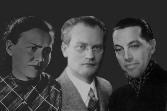 S.Nėries muziejaus, Amzinaitavo.lt nuotr./Salomėja Nėris, Vincas Mykolaitis-Putinas ir Antanas Škėma