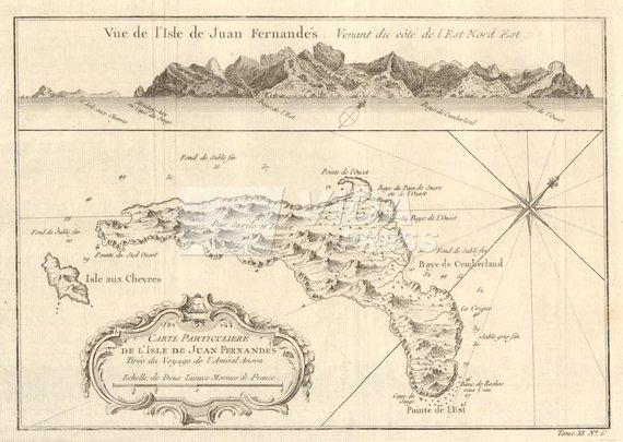 Vida Press nuotr./1753 metų Robinzono Kruzo salos žemėlapis