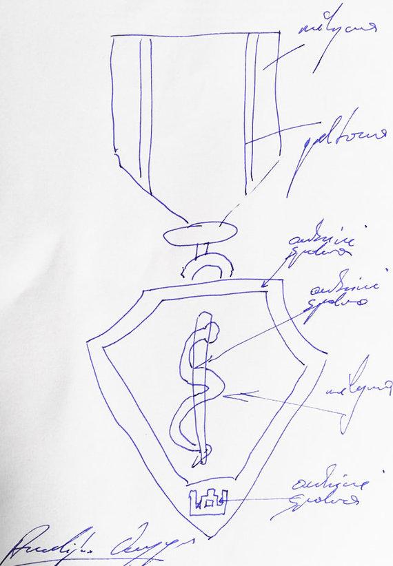 15min nuotr./ Medalio medikams eskizas su A.Verygos parašu