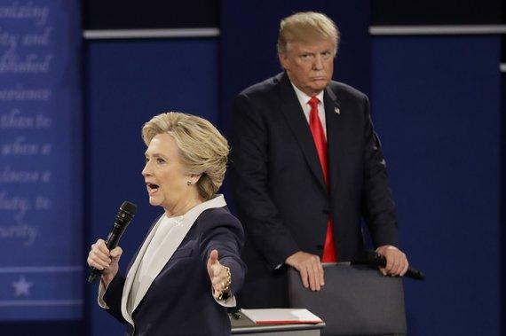 """""""Scanpix""""/AP nuotr./Donaldo Trumpo ir Hillary Clinton antrieji debatai"""