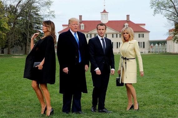 """""""Reuters""""/""""Scanpix"""" nuotr./Prancūzijos prezidentas Emmanuelis Macronas atvyko į JAV"""