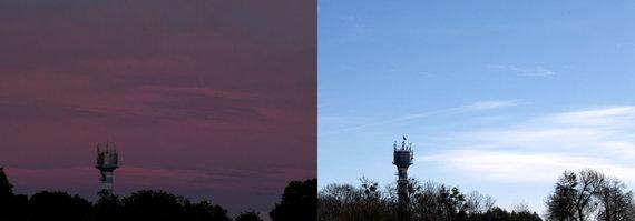 A. Belinskio nuotr./Vandens bokštas Birštono rajone, Kernuvės kaime – 2017 m. Liepa (kairėje), 2018 m. Kovas.