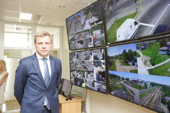 Vidmanto Balkūno / 15min nuotr./Remigijus Šimašius per naujų stebėjimo kamerų Vilniaus mieste pristatymą