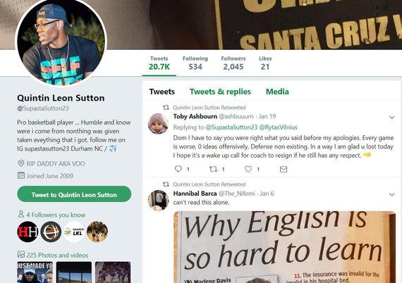 Dominique'o Suttono tviterio profilis