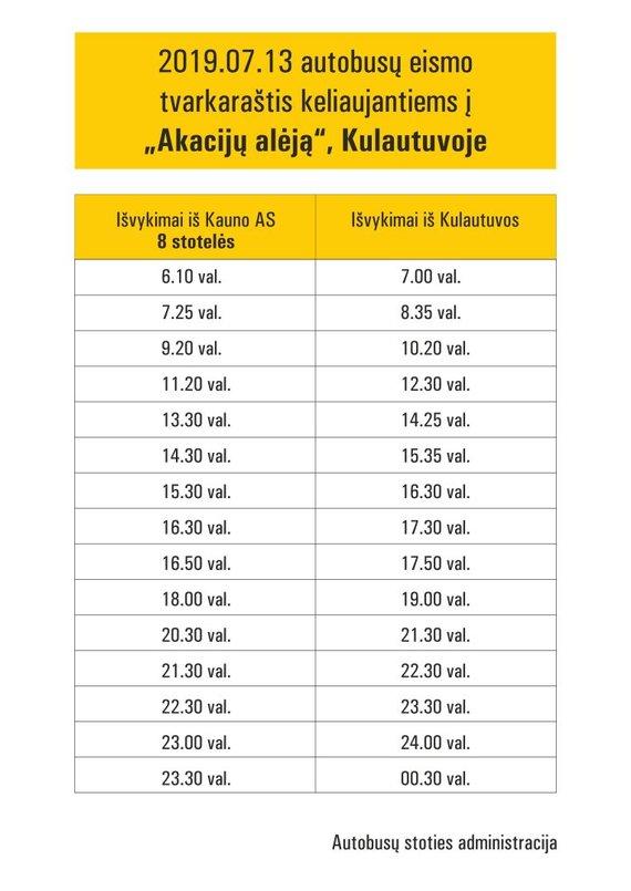 """Kautros nuotr./Autobusų eismo tvarkaraštis keliaujantiems į """"Akacijų alėją"""""""