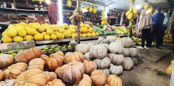 Karolinos Stažytės nuotr./Pakelėje pardavinėjami moliūgai ir melionai