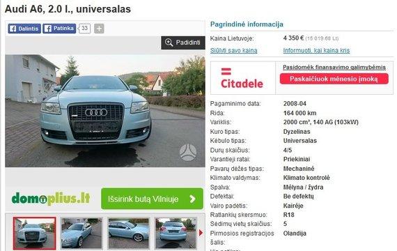 """autoplius.lt nuotr./Neva parduodamas """"Audi A6"""""""