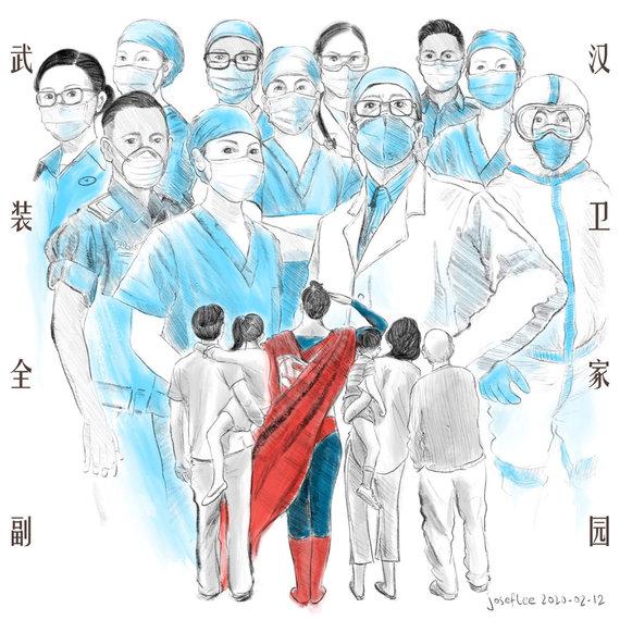 Josefo Lee iliustracija/Josefo Lee iliustracija apie koronavirusą 2020-02-12
