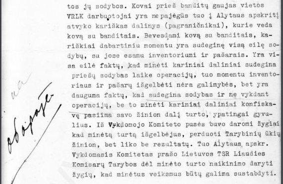 Kgbveikla.lt nuotr. // Alytaus apskrities Vykdomojo komiteto skundas Lietuvos SSR liaudies komisarų tarybai apie neteisėtus pasieniečių veiksmus