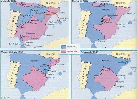 Praeitiespaslaptys.lt nuotr. /Karo veiksmų žemėlapis. Mėlynai pažymėtos nacionalistų, raudonai - anarchistų kontroliuojamos teritorijos