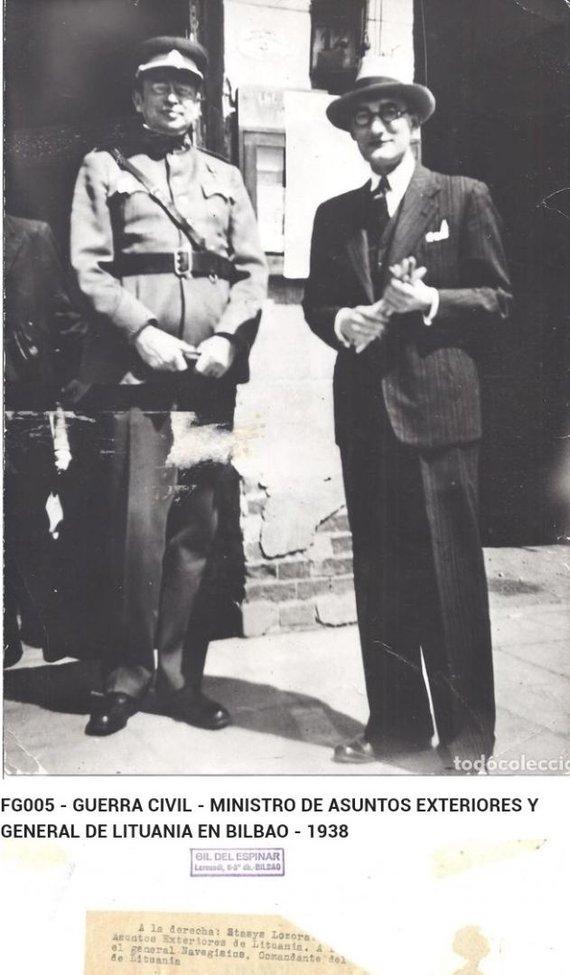 Praeitiespaslaptys.lt nuotr. /Stasys Lozoraitis ir Vladas Nagevičius Bilbao mieste