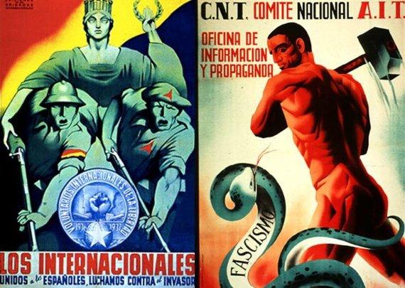 Praeitiespaslaptys.lt nuotr. /Kairėje Respublikos, dešinėje anarchistų propagandiniai plakatai, raginantys kautis su fašistais