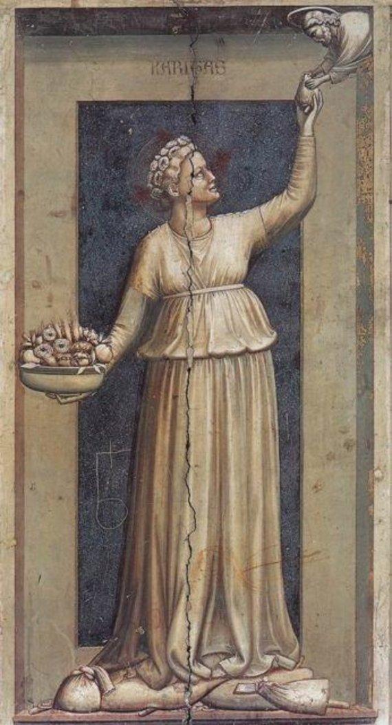 Vintagenews.com iliustr./Džioto paveikslas, kuriame moteris atiduoda širdį Kristui