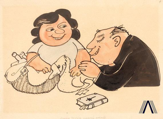 """karikatūra iš www.archivesofculture.com/Juozo Kasčiūno 1963 m. sukurta antireliginė karikatūra """"Sveika, Marija, malonės pilnoji"""""""
