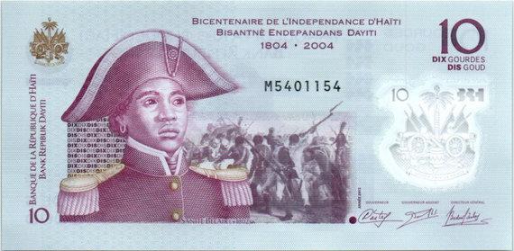 Praeitiespaslaptys.lt nuotr. /Haičio banknotas su nepriklausomybės kovų siužetais