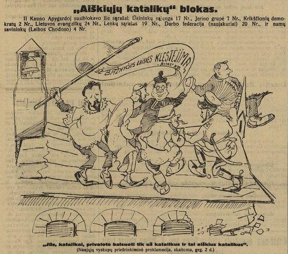 """epaveldas.lt nuotr. /Krikščionis demokratus vaizduojanti karikatūra """"Lietuvos žiniose"""" 1926 m."""