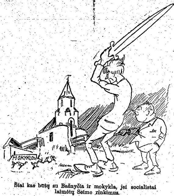"""epaveldas.lt nuotr. /Valstiečių liaudininkų lyderius vaizduojanti karikatūra """"Ryte"""" 1926 m."""