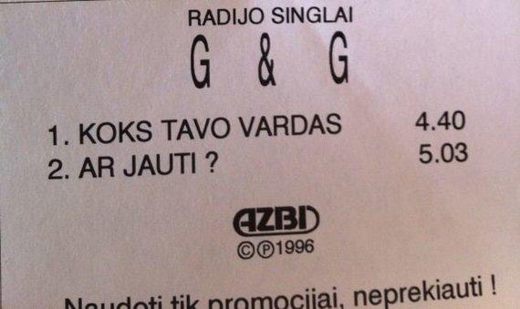 """Nuotrauka iš oficialaus """"G&G Sindikato"""" puslapio/1996 m. pasirodžiusio """"G&G """" radijo singlo viršelis"""