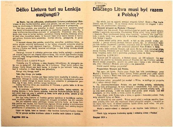 1919 m. lankstinukas, raginęs lietuvius ir lenkus draugauti