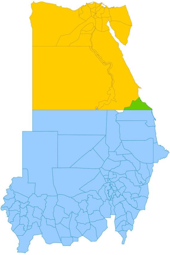 Wikimedia Commons pav./Afrikos žemėlapis: Egiptas pažymėtas geltonai, Sudanas – mėlynai, Halaibo trikampis – žaliai, Bir Tavilas – baltai