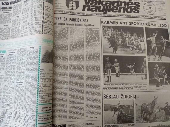 """Ugniaus Antanavičiaus nuotr./1989 m. rugpjūčio 28 d. """"Vakarinėse naujienose"""" išspausdintas TSKP CK pareiškimas"""