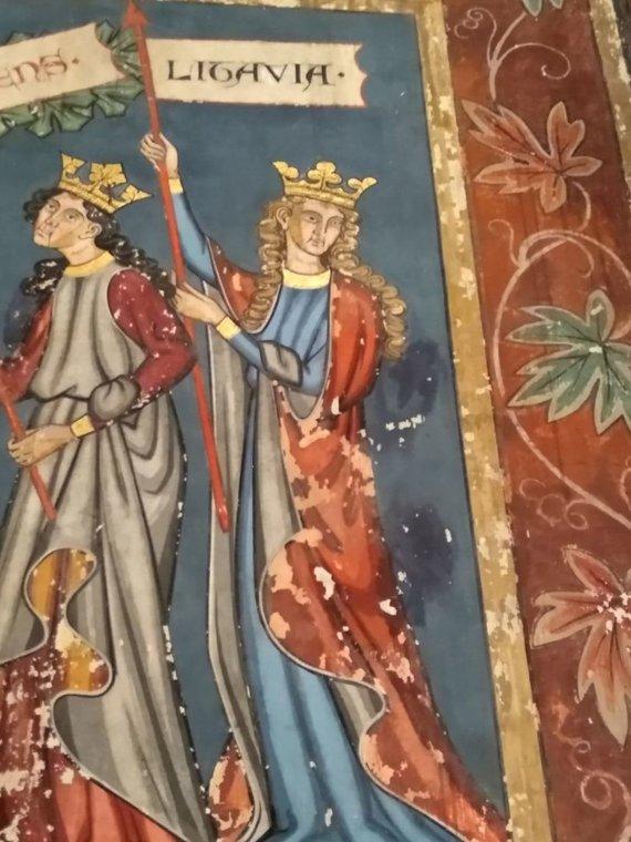 Ugniaus Antanavičiaus nuotr./Strasbūro bažnyčioje esanti freska, vaizduojanti Lietuvą kelyje į krikščionybę
