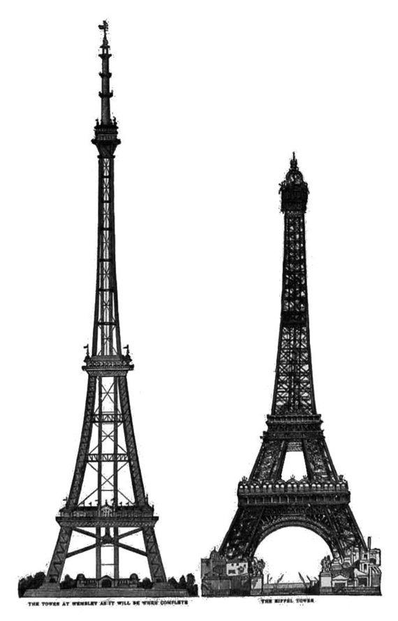 Wikimedia Commons / Public Domain nuotr./Vatkino bokšto maketas ir jo palyginimas su Eifelio bokšto maketu. Vatkino bokštas – kairėje
