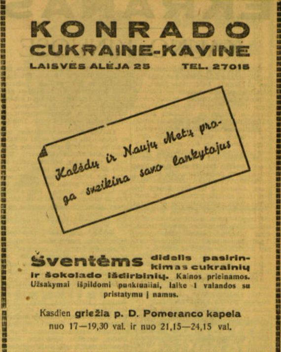 """epaveldas.lt nuotr. /""""Konrado"""" kavinės-cukrainės reklama"""
