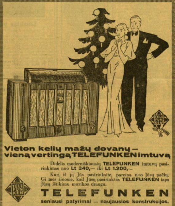 """epaveldas.lt nuotr. /Radijo imtuvo reklama """"Lietuvos žiniose"""""""