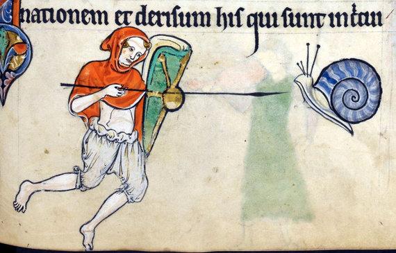 Pinterest nuotr./Riterio ir sraigės piešinys Viduramžių knygoje