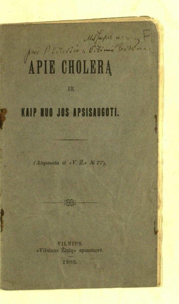 epaveldas.lt nuotr./1905 m. leidinio, kuriame pasakota, kaip kovoti su cholera, viršelis