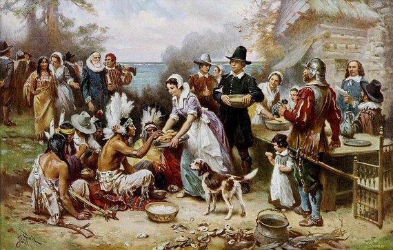 """Jeano Leono Gerome'o Ferriso paveikslas """"Pirmoji padėkos diena 1621 m."""""""