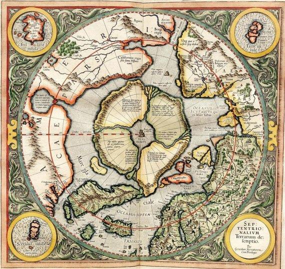en.wikipedia.org nuotr. /Šiaurės ašigalis G.Mercatoriaus žemėlapyje