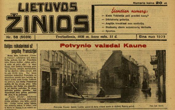 """epaveldas.lt nuotr./""""Lietuvos žinių"""" straipsnis apie potvynį Kaune"""