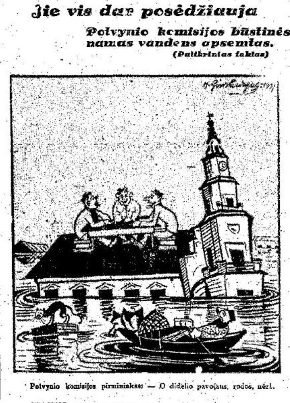 epaveldas.lt nuotr./Tarpukario karikatūra, pašiepianti Kauno valdžios nesugebėjimą susidoroti su potvynio pasekmėmis
