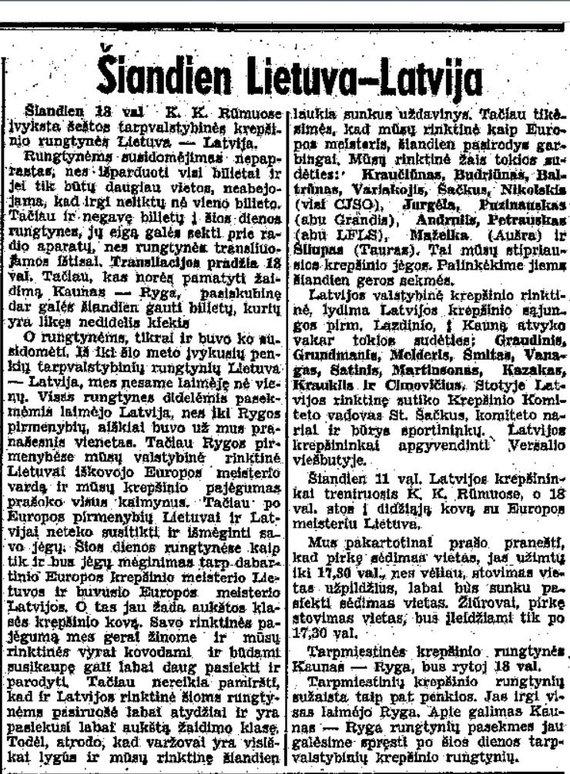 epaveldas.lt nuotr./Lietuva-Latvija rungtynių aprašymas iš 1938 m.