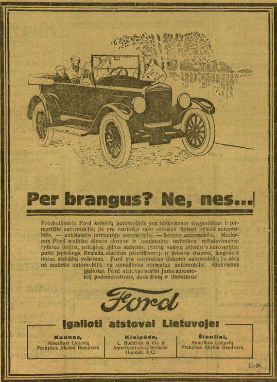 """epaveldas.lt nuotr./Ford reklama """"Lietuvos žinių"""" straipsnyje 1926 m."""
