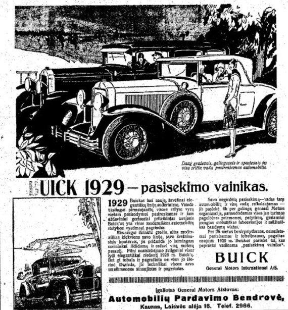 "epaveldas.lt nuotr./Automobilio reklama ""Lietuvos aide"" 1929 m."