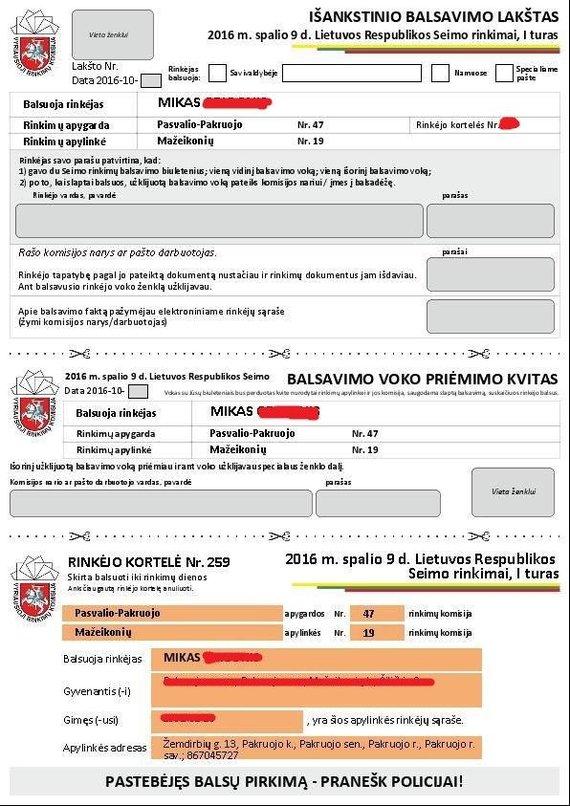 Rinkėjo išankstinio balsavimo lakštas