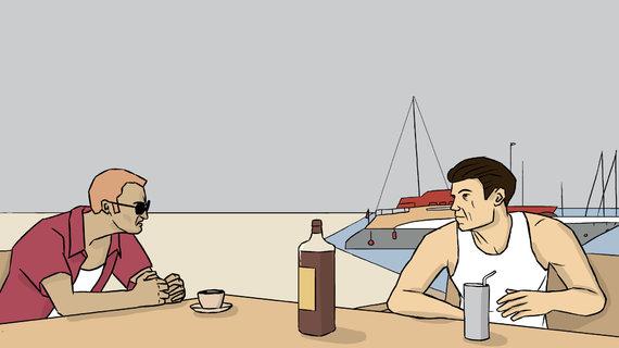 Skirmanto Malinausko iliustracija/Ispanijoje Rokas Karpavičius ir Blairas Aaronas Bidoisas susitiko aptarti nešvarų biznį