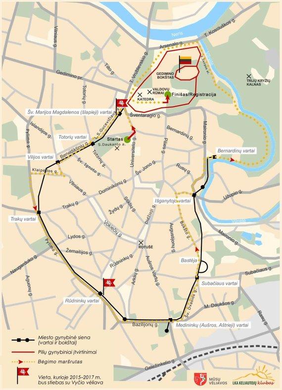 Projekto organizatorių nuotr./Bėgimo su Vyčio vėliavomis maršrutas