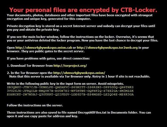 """RRT nuotr./Taip atrodo virusu """"CTB-Locker"""" apkrėstas kpmpiuteris"""