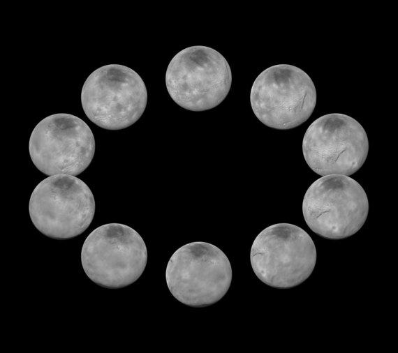 NASA nuotr./Plutono palydovas Charonas iš skirtingų pusių