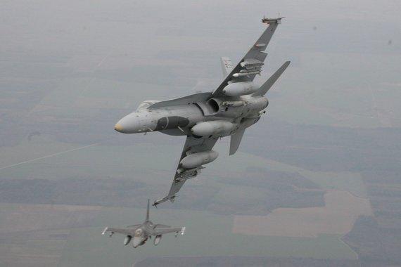 Alvydo Januševičiaus nuotr./Fotosesija virš debesų – dvi dešimtys fotografų fiksavo naikintuvus iš atviro lėktuvo