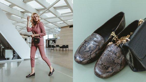 Pranešimo autorių nuotr./Derinys su gyvatės odos imitacijos bateliais